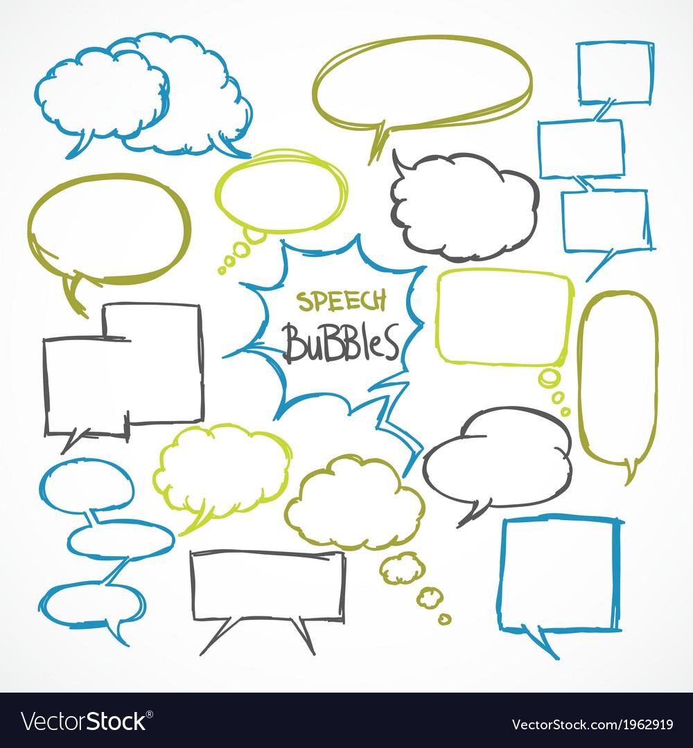 Doodle comic speech bubbles set vector