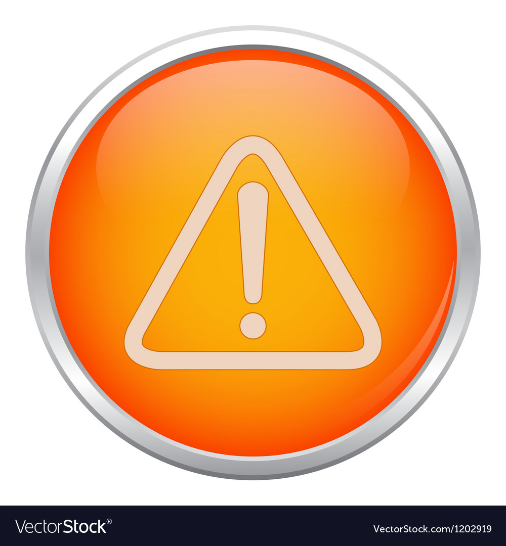 Orange warning icon vector