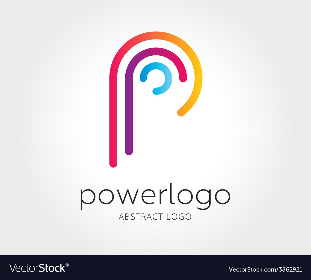 Abstract p character logo template for vector