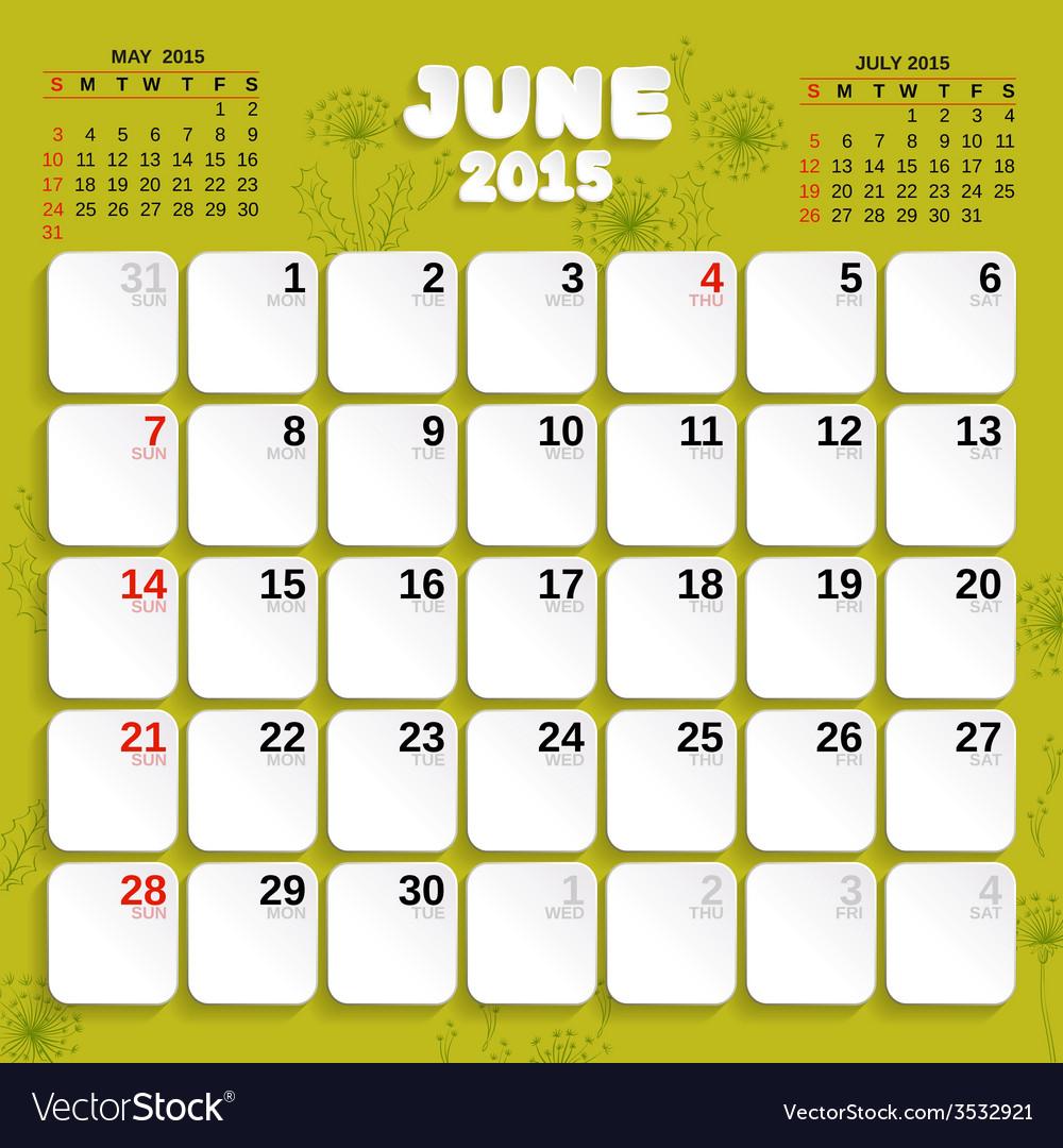June month calendar 2015 vector