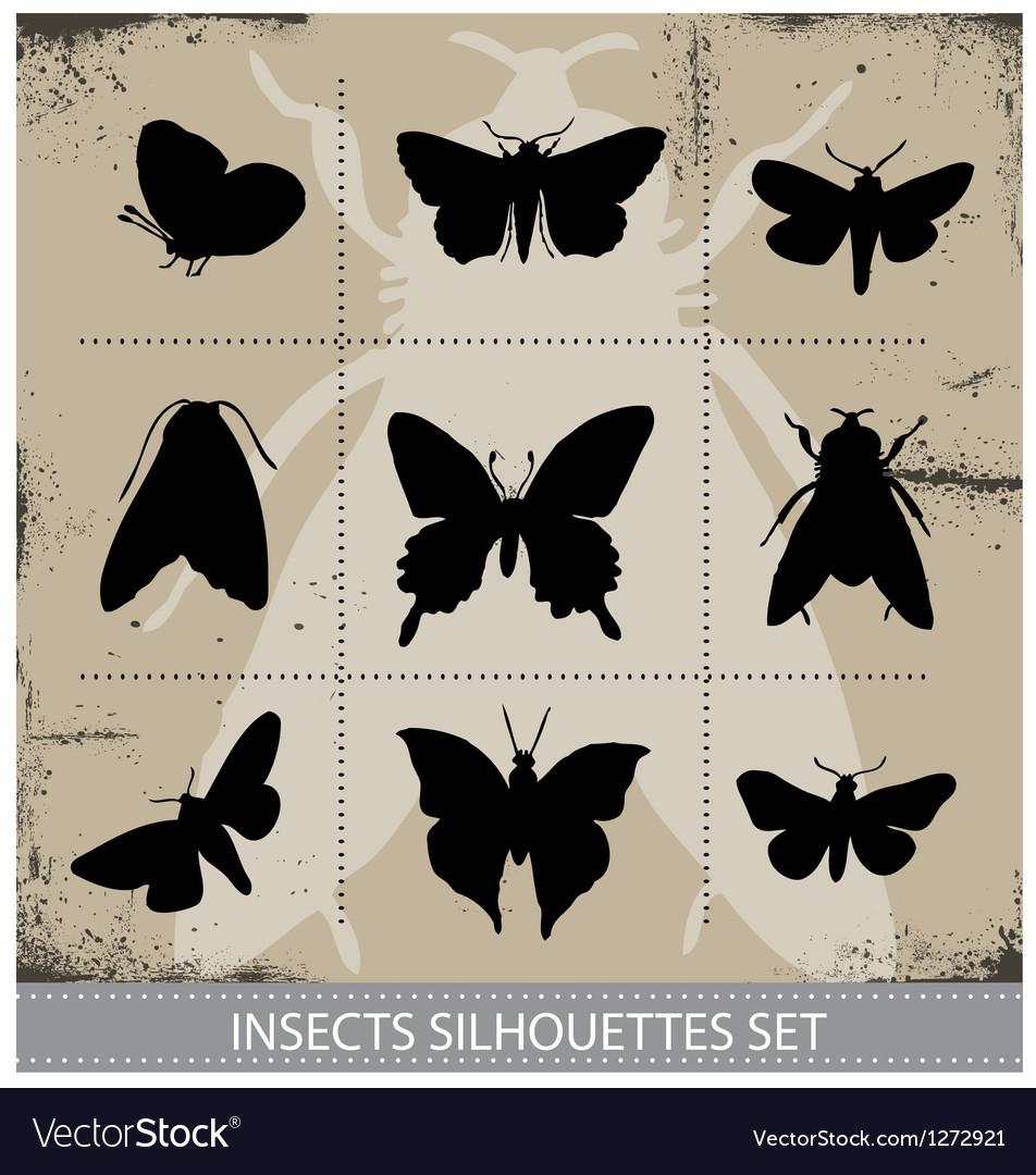 Nature butterflies silhouettes sign set vector