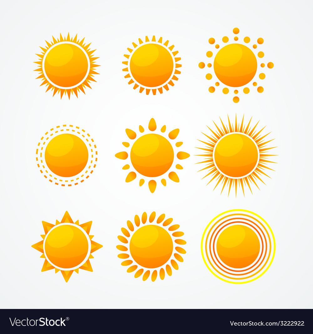 Set of glossy sun icon set vector