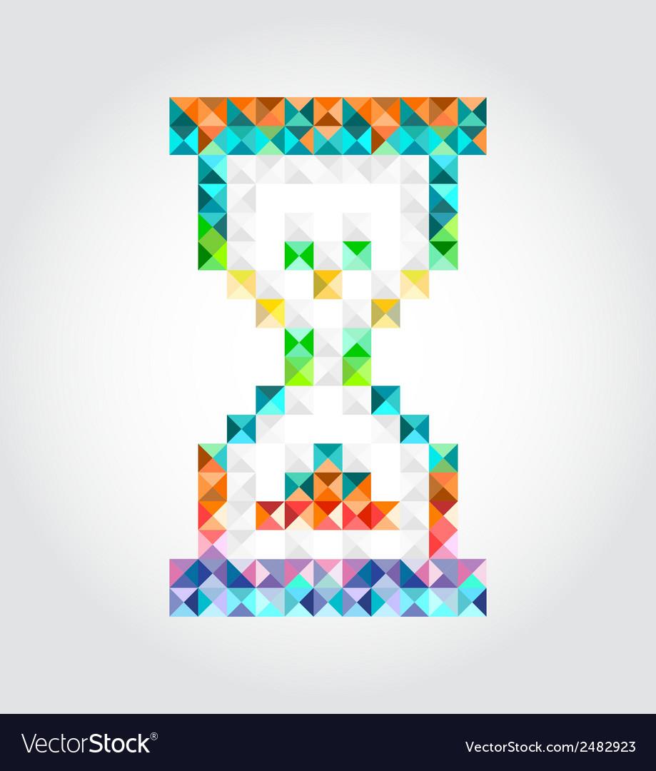 Abstract hourglass of pixels vector