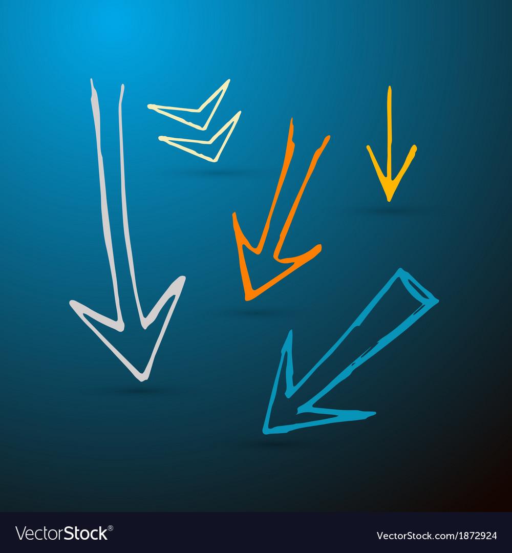 Hand drawn arrows on dark blue background vector