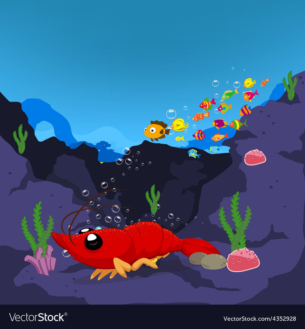 Lobster is under a sea water vector