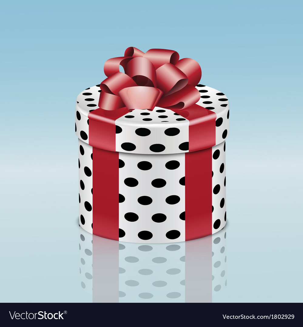 Round gift box with red ribbon vector