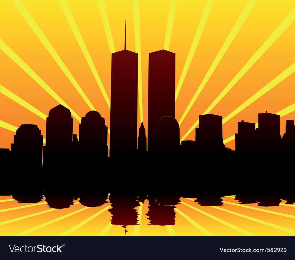 Twin towers silhouettes vector