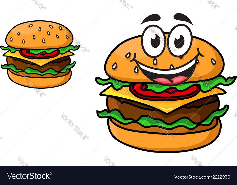 Cartoon cheeseburger with a laughing face vector