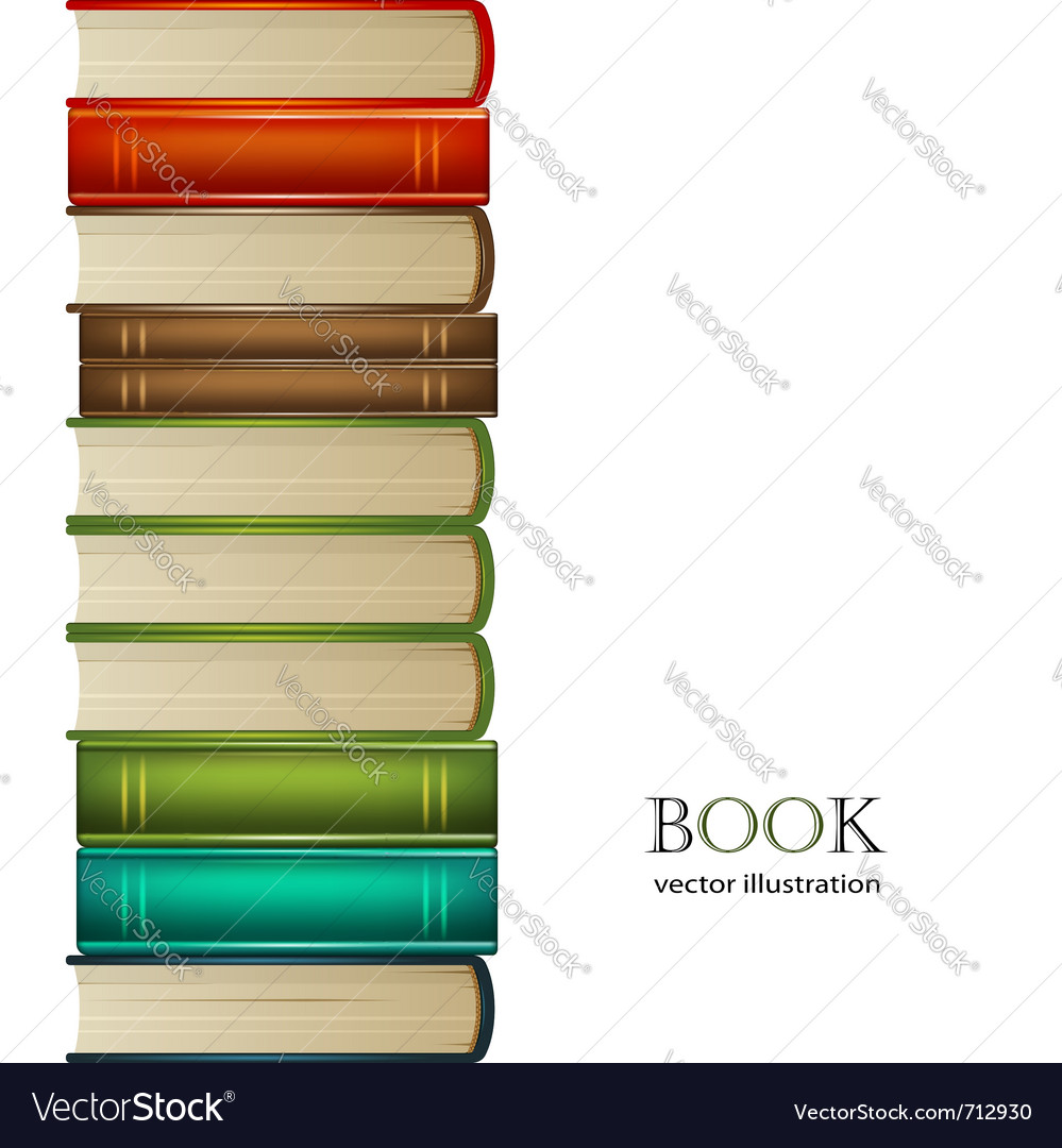 Heap of multi-coloured books isolated on white bac vector