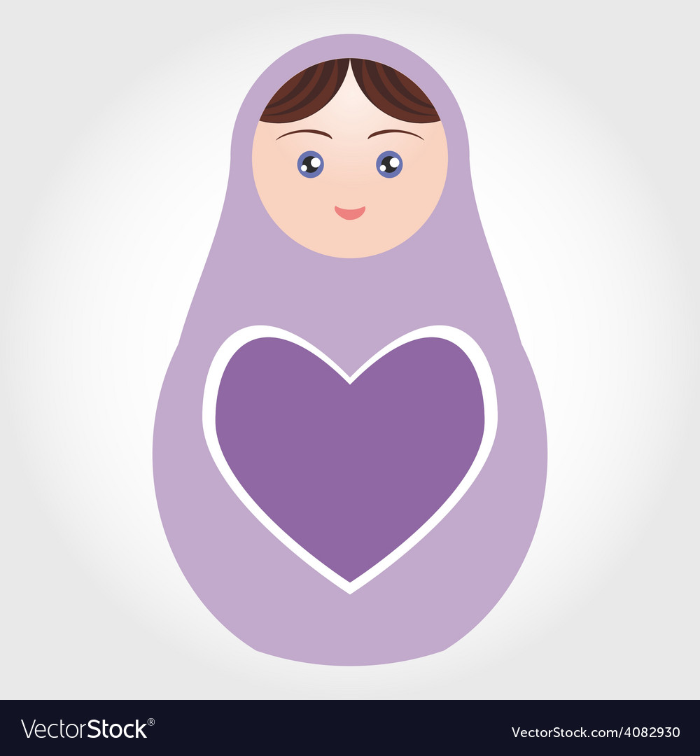 Purple russian dolls matryoshka with heart on vector