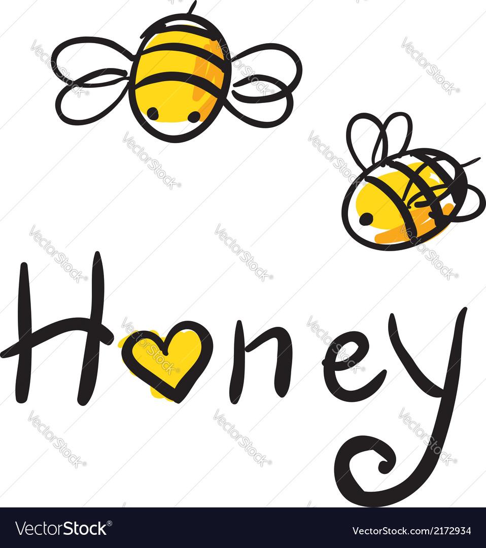 Bee love honey vector