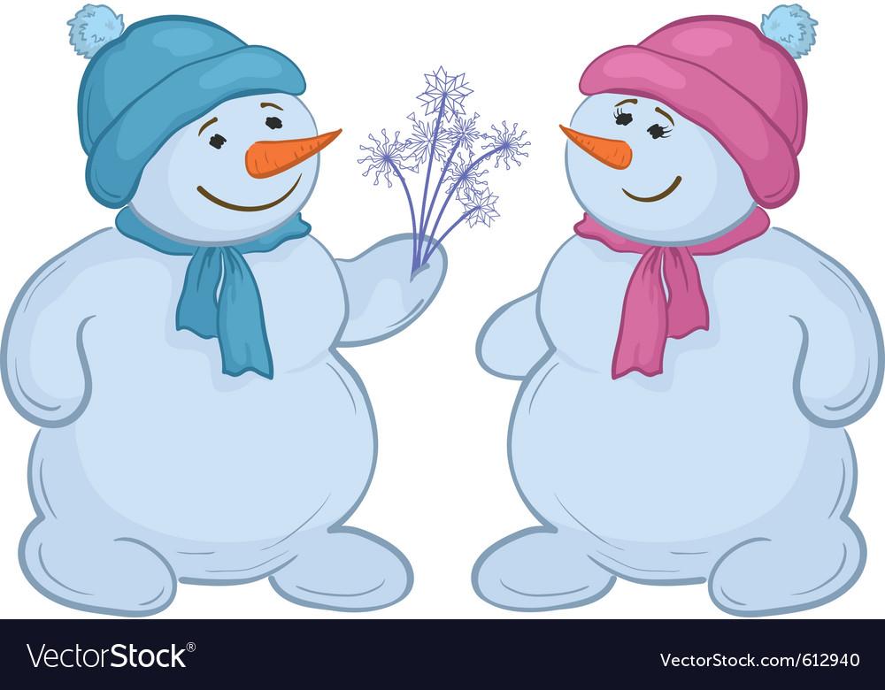 Snowmen with snow flowers vector