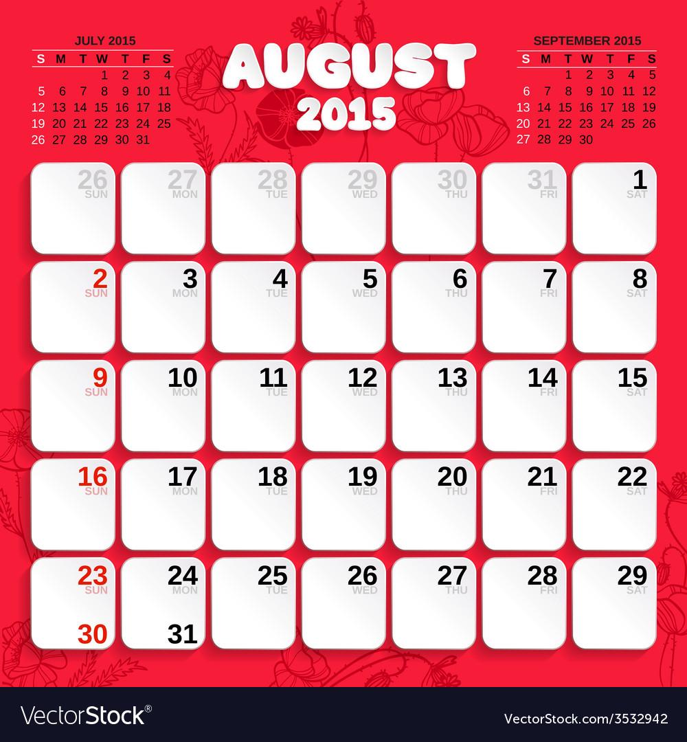 August month calendar 2015 vector