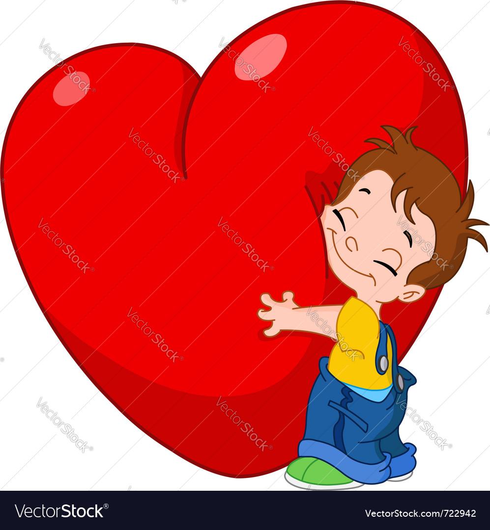 Kid hug heart vector