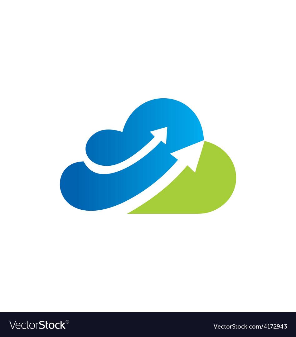 Cloud arrow business logo vector