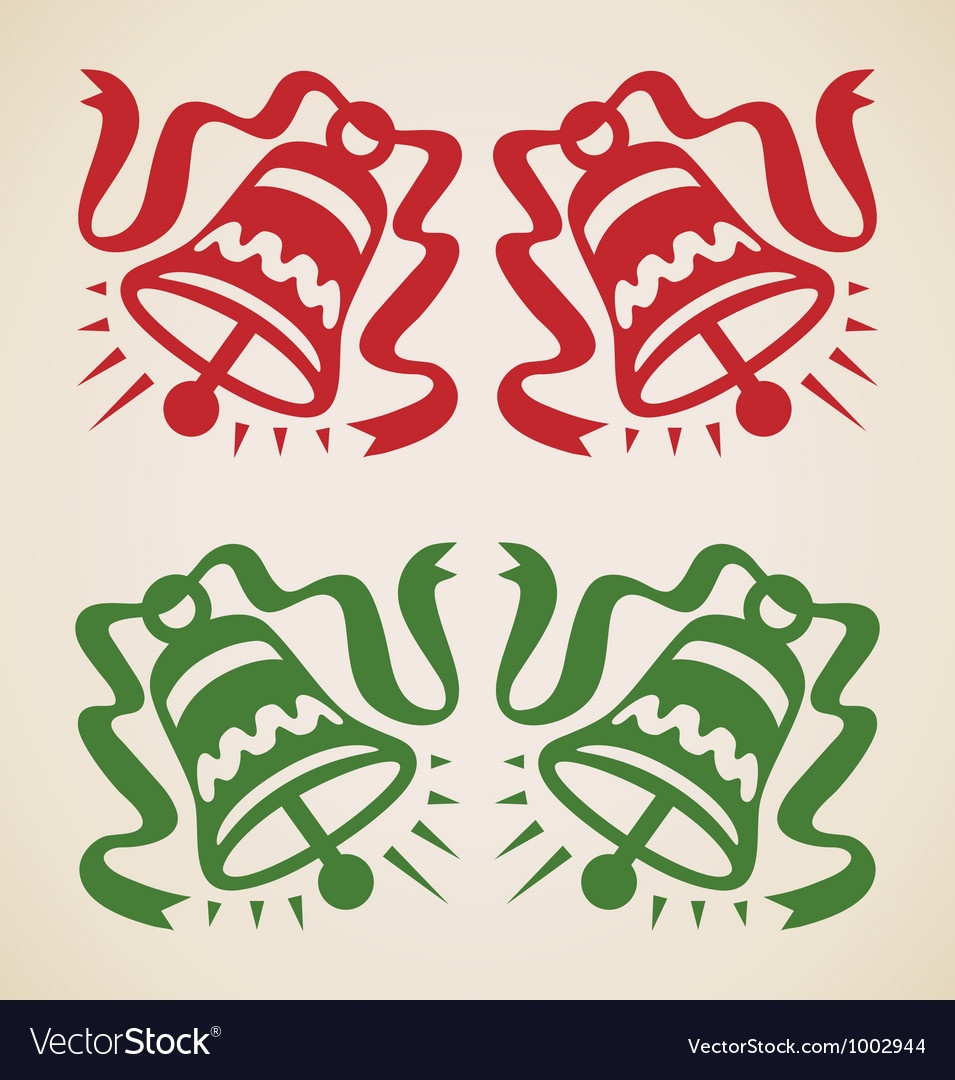 Christmas two bells vector