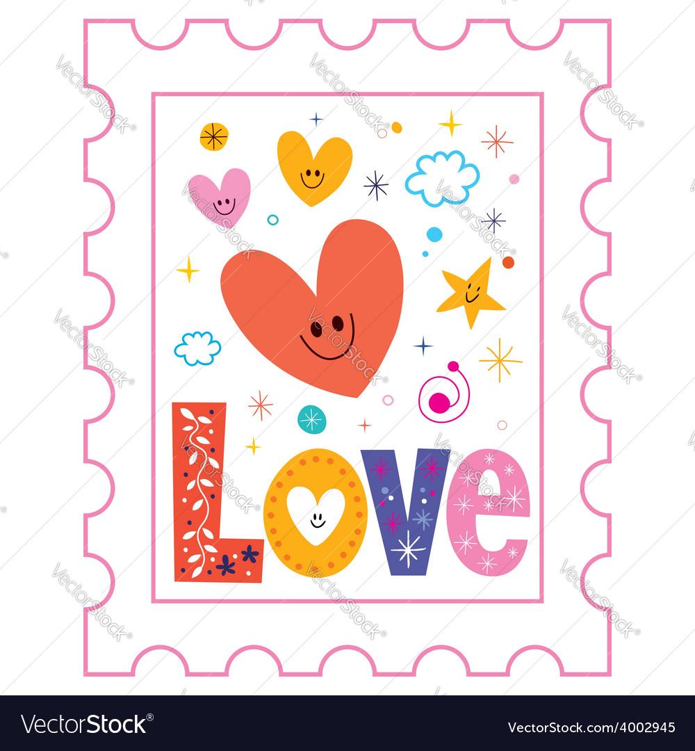 Love postage stamp vector