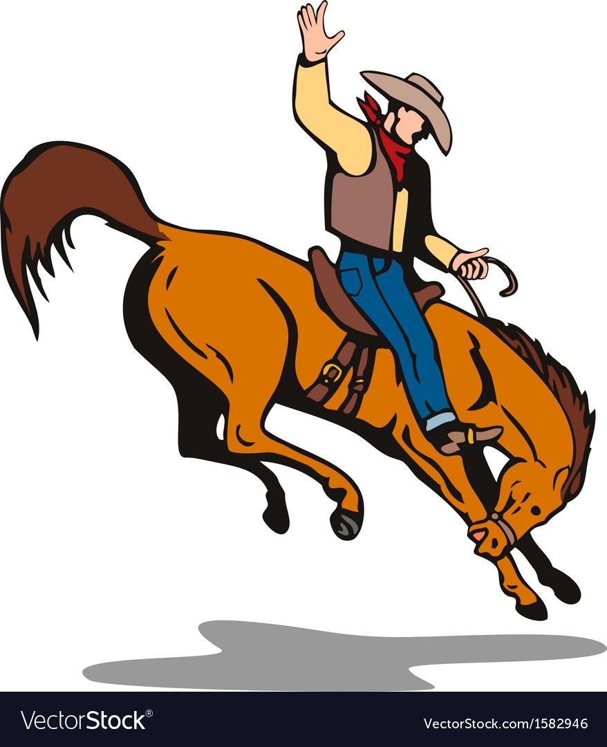 Rodeo cowboy riding horse vector