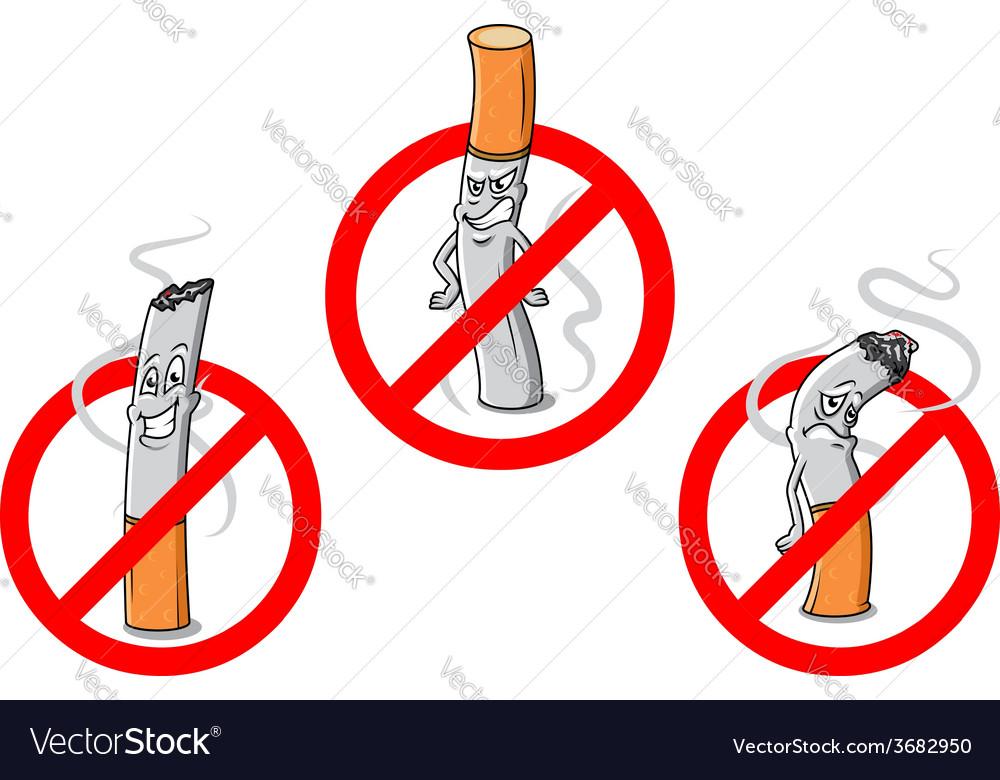No smoking cartoon sign vector