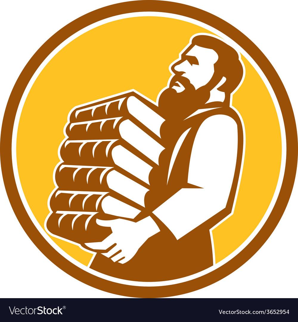 Saint jerome carrying books retro vector