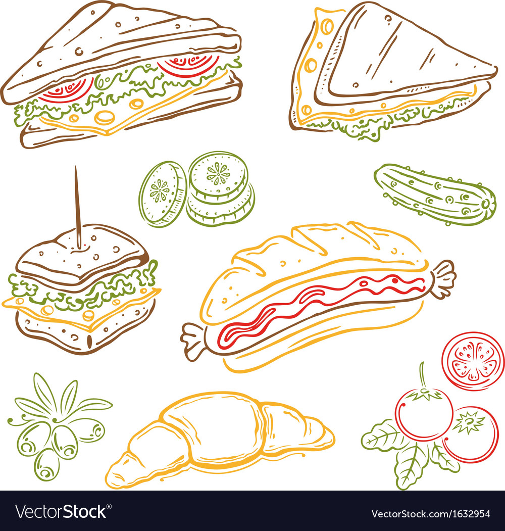 Sandwiches fast food snack vector