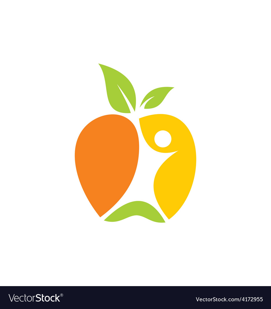 Fresh fruit people abstract logo vector