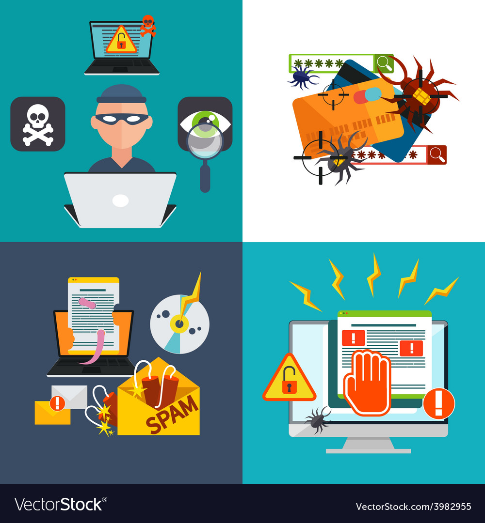 Hacker activity viruses hacking and e-mail spam vector