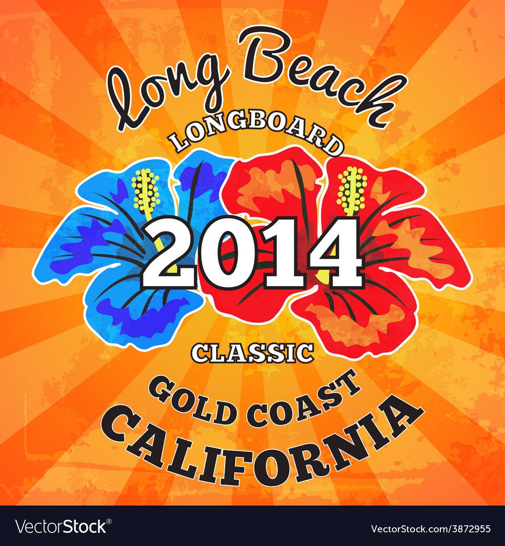 Long beach surfing artwork vector