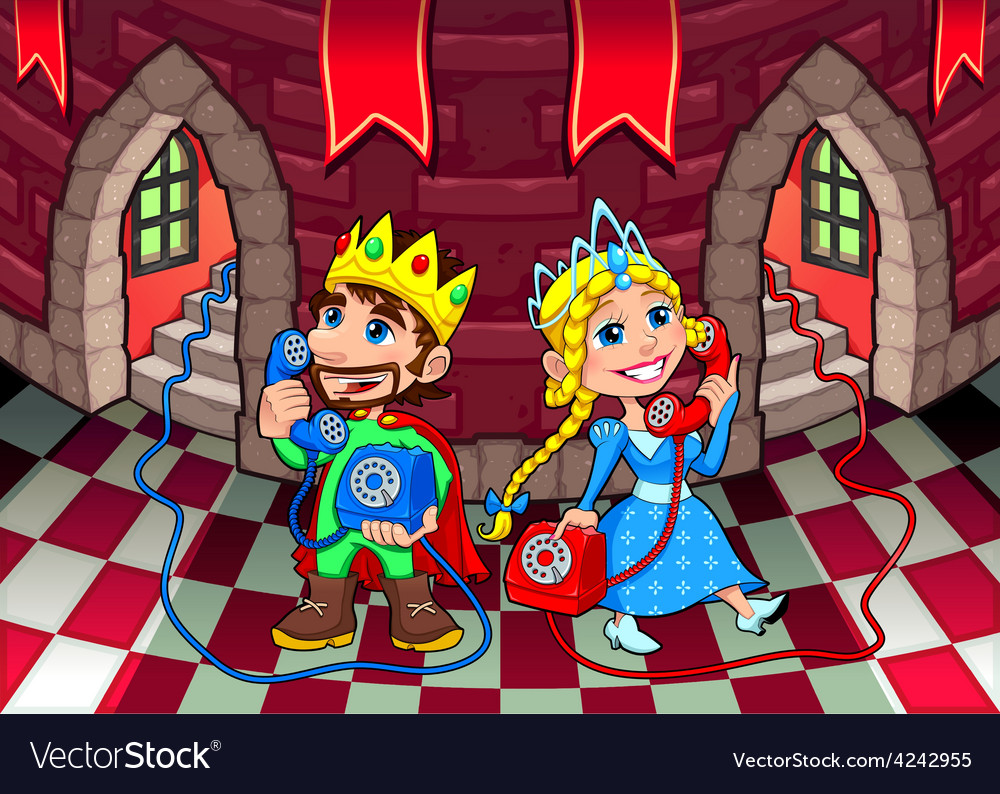 Queen and king at the phone vector
