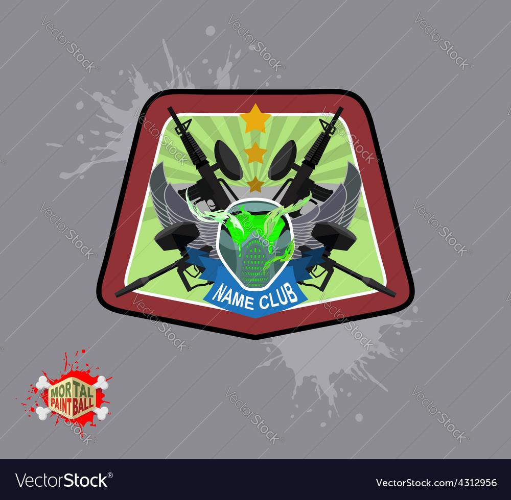 Logo paintball club mortal paintball guns and mask vector
