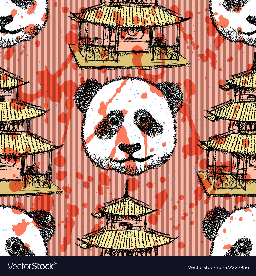 Sketch chinese temple and panda vintage seamless vector