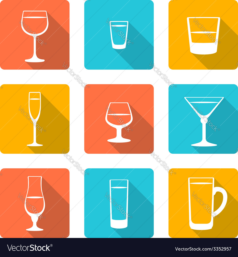 Flat alcohol glasses icons vector