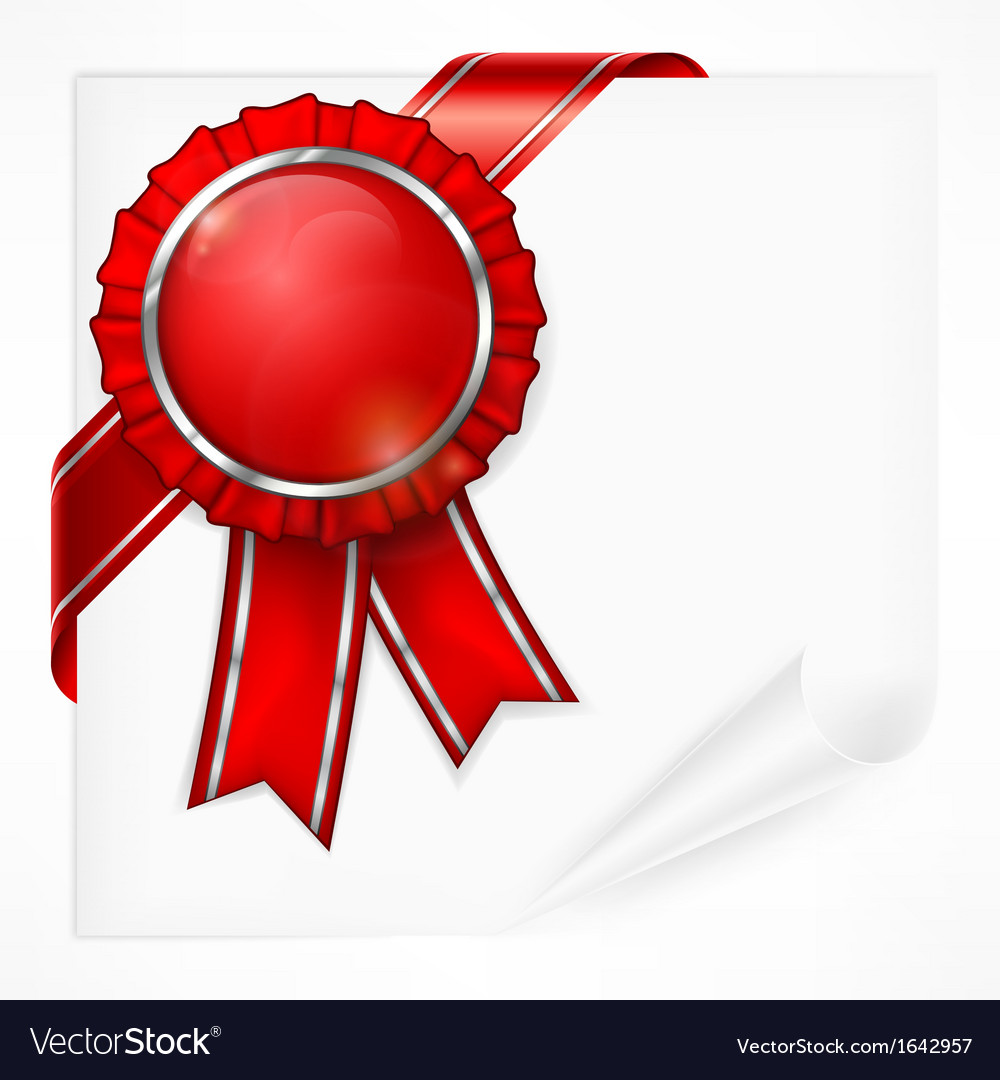 Red award label on paper vector
