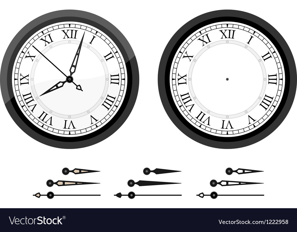 Clock with roman bended numerals vector