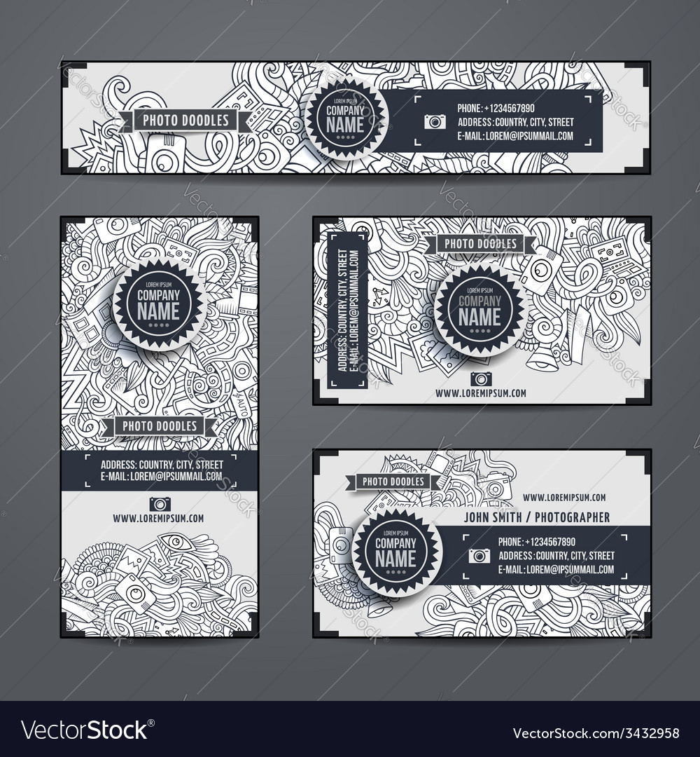Corporate identity templates doodles photo vector