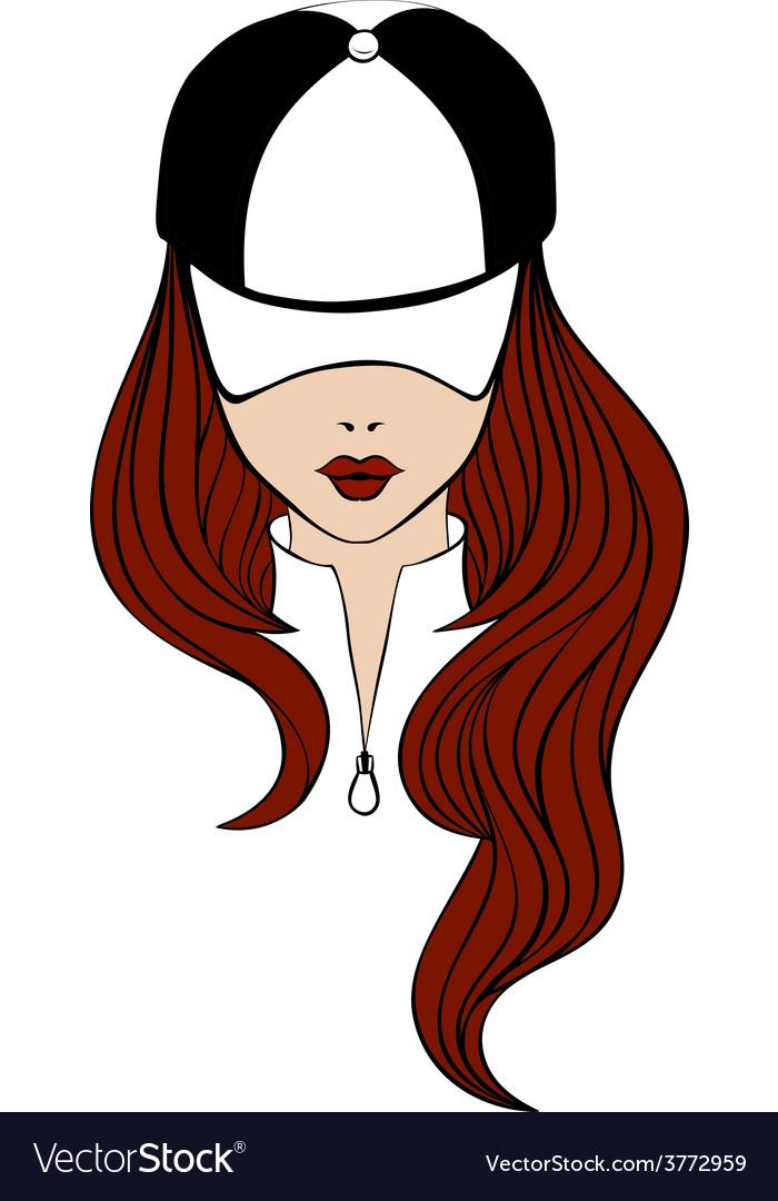 Lady in baseball cap vector