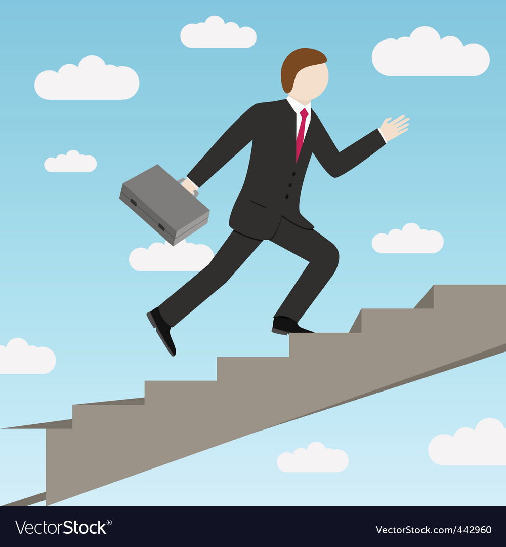 Businessman and stairs vector