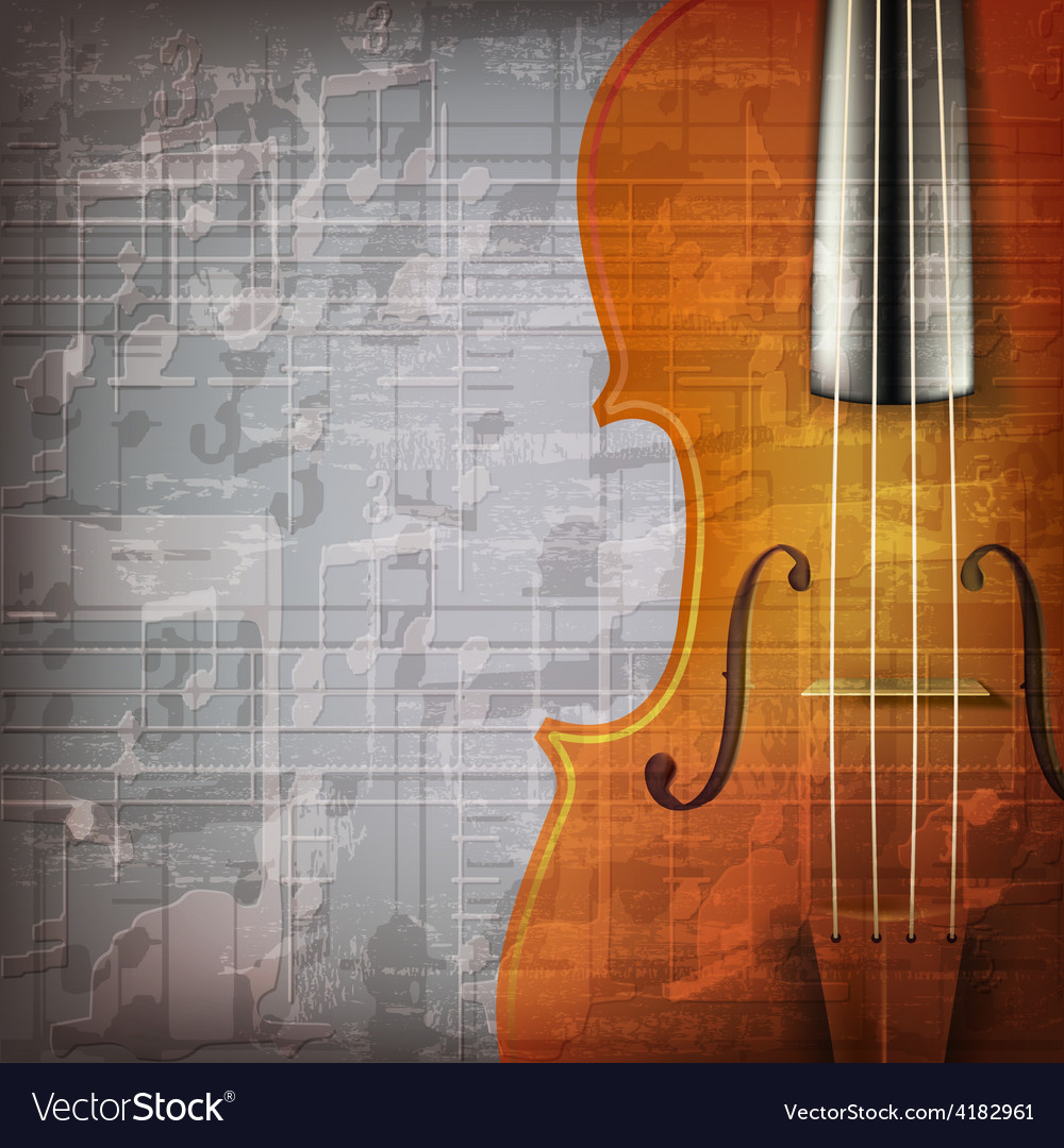 Abstract grunge gray music background with violin vector