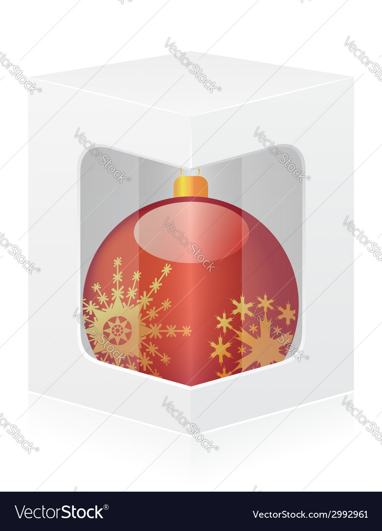 New year packing box with ball vector