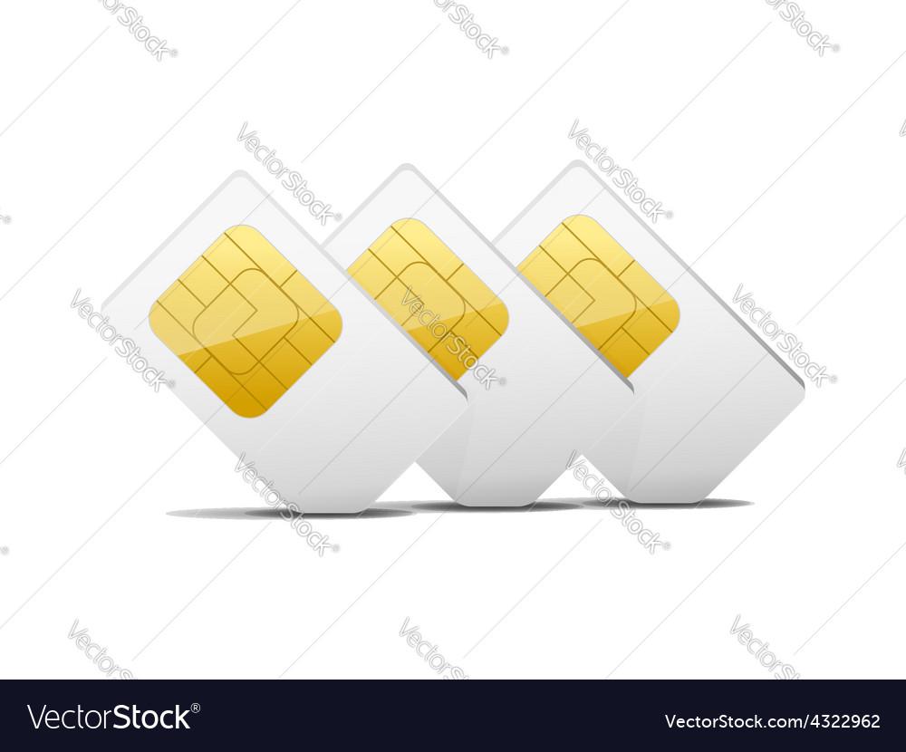 Three gray white sim cards vector