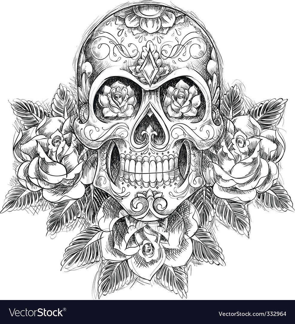 Sketchy skull with roses vector