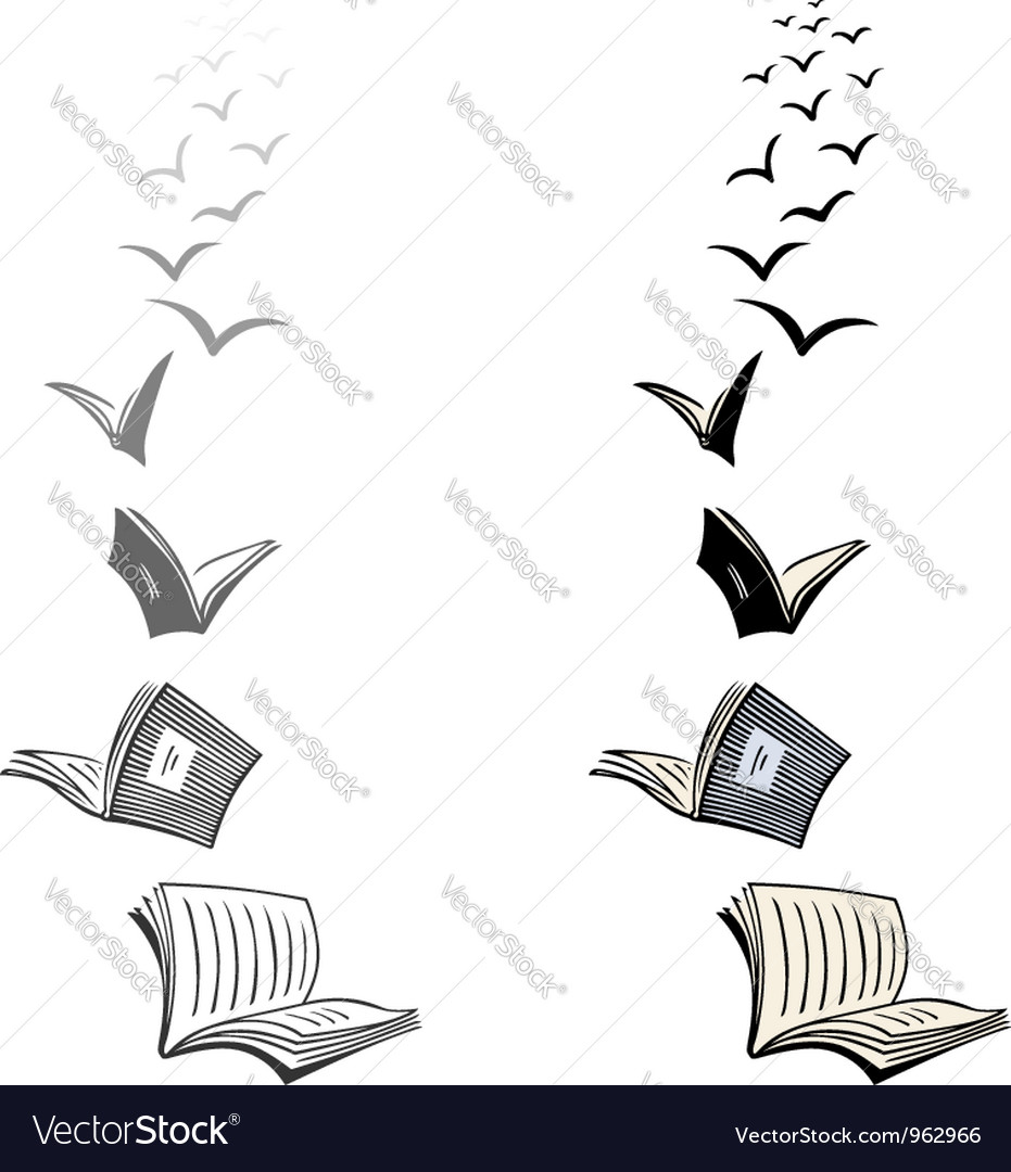 Flying books vector
