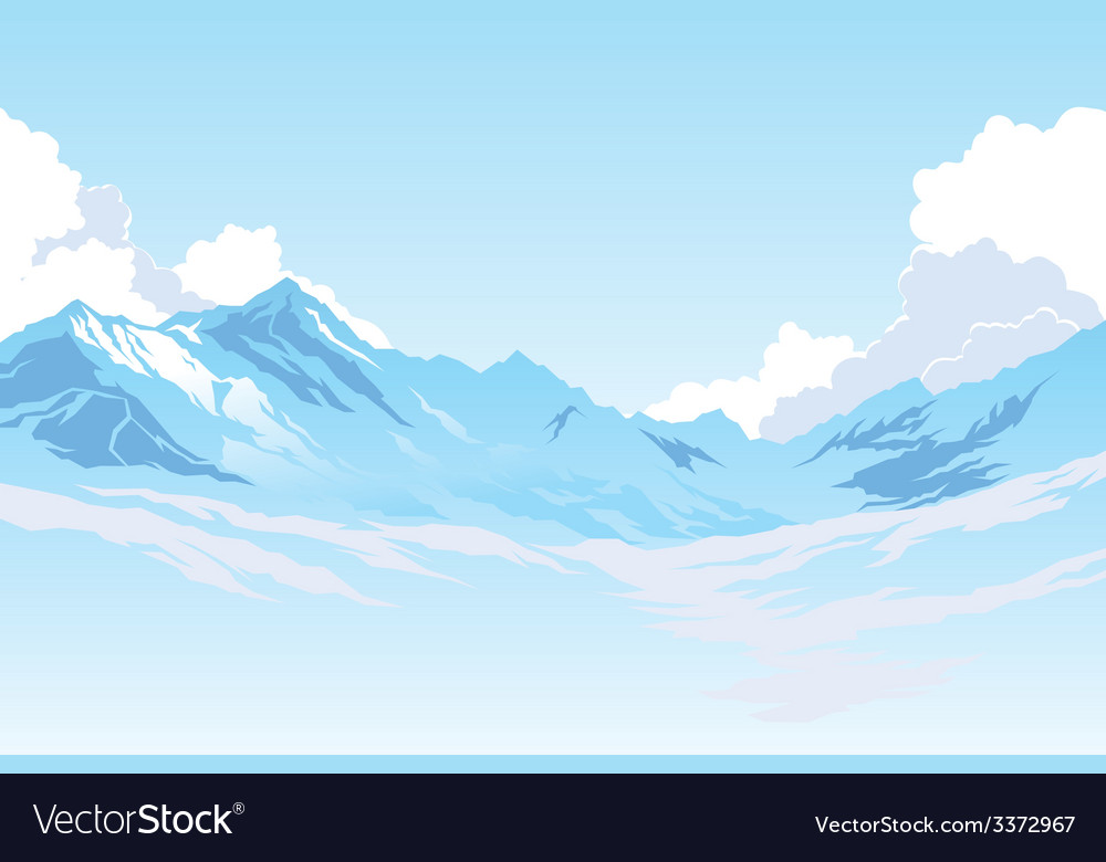 Mountains and clouds vector