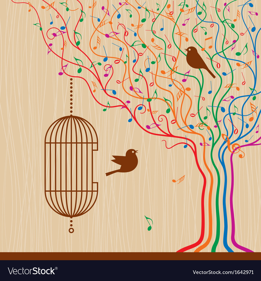 Birdcage on the musical tree vector