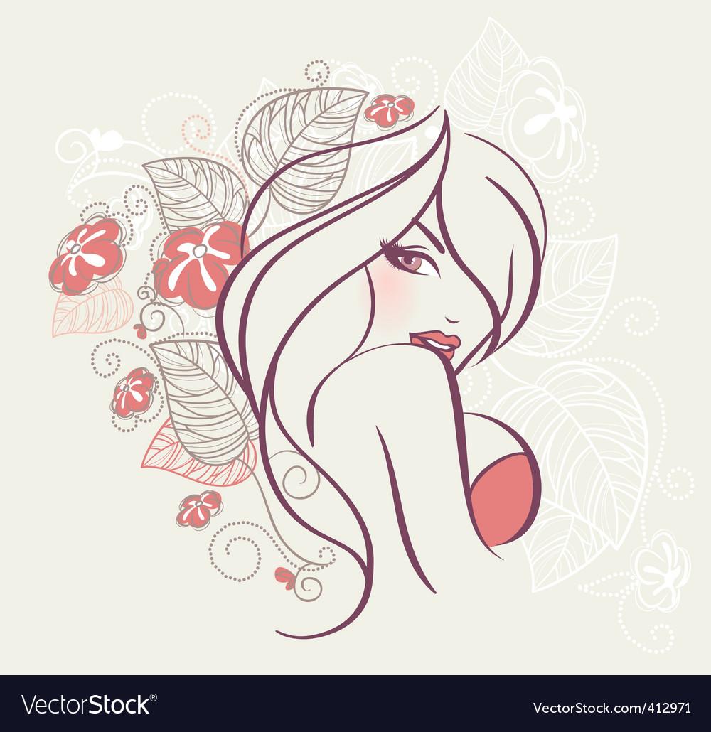 Face women floral vector