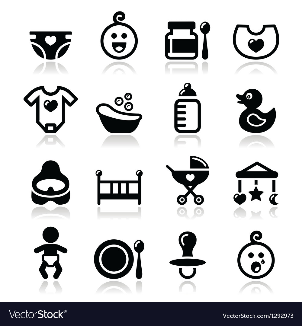 Baby  childhood icons set isolated on whit vector
