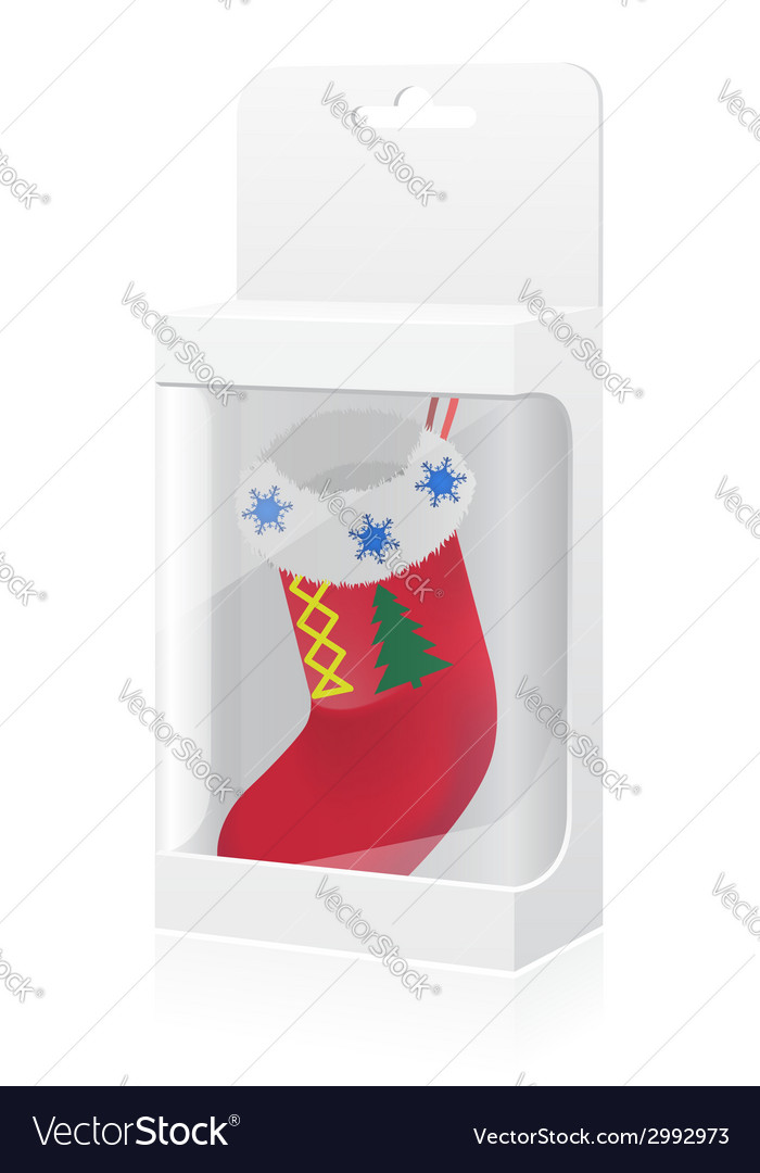 New year packing box with with sock vector