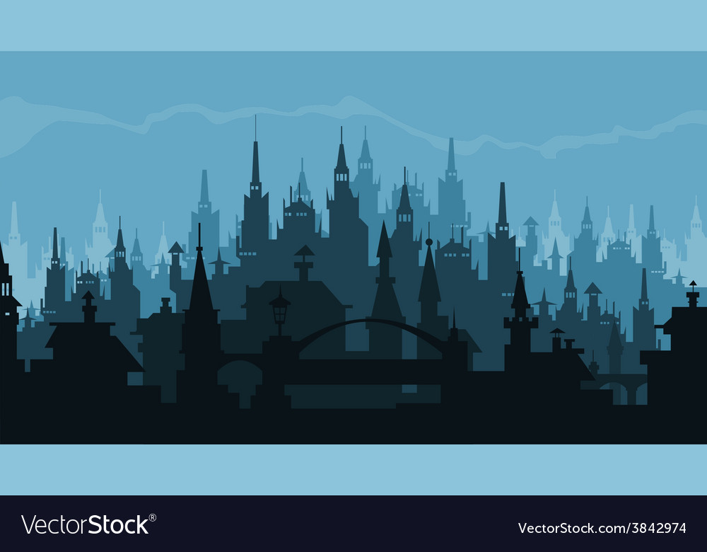 European city silhouette of buildings in gothic vector