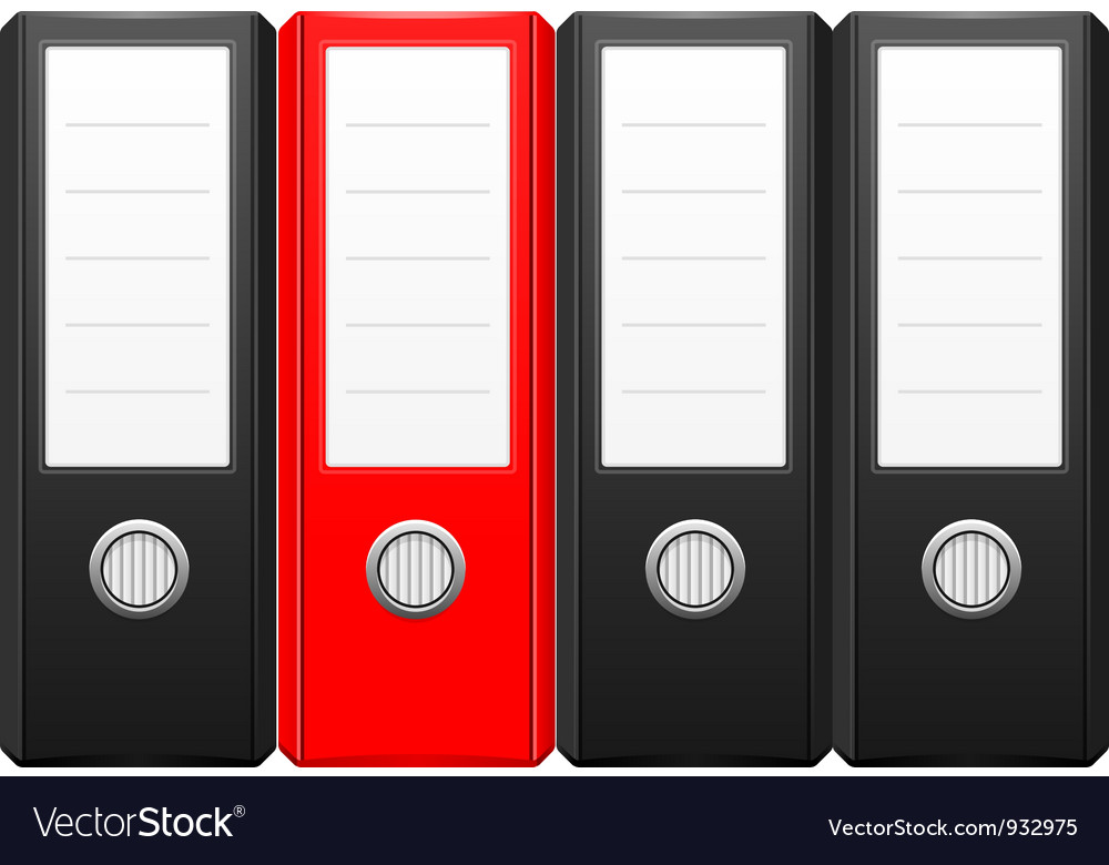 Row of black binder folders with one red folder vector
