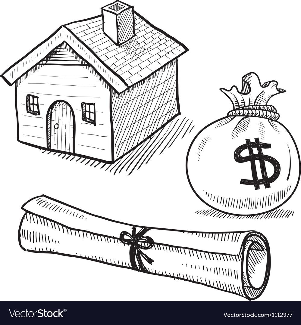 Doodle mortgage loan rent house debt money vector